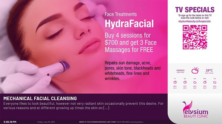 Digital Signage Menuboard Solution for Elysium Beauty Clinic by SmoothwebLife TV